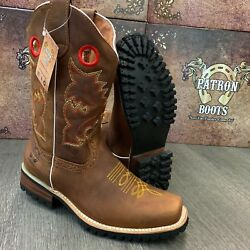 MEN'S BROWN BOOTS WESTERN COWBOY SQUARE TOE CRAZY LEATHER TRACTOR SOLE $64.99