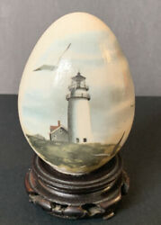 Egg -lighthouse Ceramic With Ocean-sea Gulls On Wood Stand Signe Patchell 0/502
