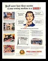 1951 Singer Sewing Centers Vintage Print Ad Machine Housewife 100th Anniversary