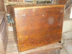 Rare Large Unusual Oak Machinest Tool Box Finger Dovetails With Tray Antique