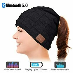 Bluetooth Beanie Hat Warm Gifts for Women with Ponytails Design Bluetooth Hat $39.99