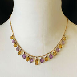 Antique, Victorian 9ct Gold Citrine And Amethyst Fringe Necklace On Barrel Clasp