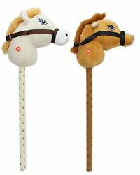Kids Hobby Horse With Galloping Neighing Sounds Childrens Toy Cream Brown