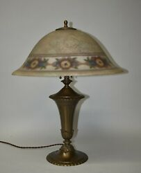 Antique Pairpoint Reverse Painted Lamp Floral Border Signed