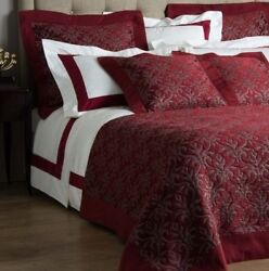 3200 New Frette Luxury Platinum Coverlet Bedcover Ruby Red Queen
