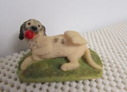 VINTAGE ANSLEY MASTER CRAFT ENGLISH TERRIER DOG AT PLAY FIGURINE HAND PTD 3quot; W