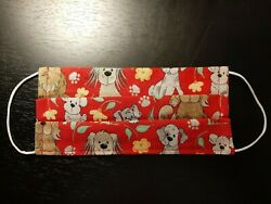 Handmade Face Masks for Adults (Double Layer) Red w Dogs Puppies - Low Price $3.00