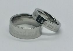 Stainless Steel His And Her Wedding Band Set Laser Engraved I Am My Belovedand039s