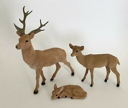 Vintage Mid Century 3-piece Plastic Flocked Deer Family•buck, Doe, Spotted Fawn