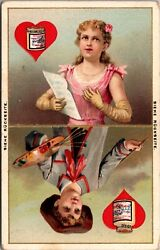 C 1891 Liebig S-294 Playing Cards Ii Hearts Spades Clubs 6 Victorian Trade Card