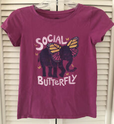 Life Is Good Youth Girls T-Shirt Size Large 10 Social Butterfly Elephant $8.00