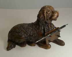 Magnificent Carved Black Forest Inkwell / Pen Stand C.1890