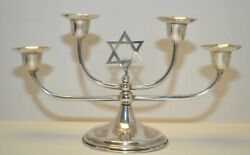 Vintage Hecho Mexico Sterling Silver Shabbat 4 Candle Holders With Star Of David
