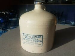 Antique Olson Wolff Wine And Fine Whiskey East Grand Forks Minnesota Stoneware Jug