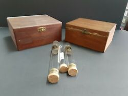 Vintage Two 2 Wood Dovetailed Cigar Boxes And Three 3 Glass Cigar Tubes