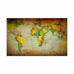 5X3 7X5ft World Map Africa Background Home Retro Wall World Decor Maps Office