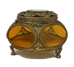 Pentagonal Antique Gold Ormolu Beveled Glass Footed Wedding Jewelry Casket Box