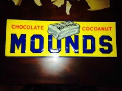 Old 1900and039s Mounds Candy Bar Sign..see My Other Porcelain Neon Cadillac Ford