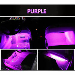 4x Purple 9 Led Charge Car Interior Accessories Foot Car Decorative Light Lamps