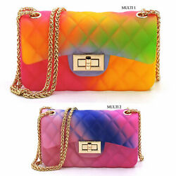 Quilt Embossed Multi Color Jelly Classic Shoulder Bag Candy Crossbody Bag Purse $19.99
