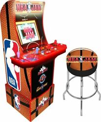 Nba Jam Arcade1up Retro Gaming Cabinet Machine W/ Riser/stool And Light Up Marquee