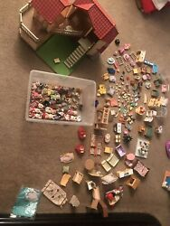 Huge Lot Of Sylvanian Families Large House With Room Light Calico Critters