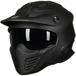 Ilm Retro Open Face Motorcycle 3/4 Half Helmet With Detachable Face Guard Dot