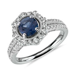 1.80 Ct Diamond Natural Blue Sapphire Ring 14k Solid White Gold Size 6