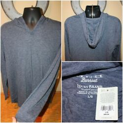 NWT $59 LUCKY BRAND Venice Burnout Long Sleeve Hooded Shirt Pullover Size M L $27.95