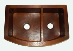 Rounded Apron Front Farmhouse Kitchen Double Bowl Mexican Copper Sink 60/40 26