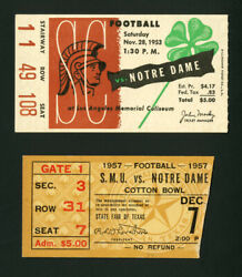 1953 Notre Dame National Champs Usc And 1957 Notre Dame Smu Football Ticket Stubs