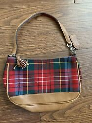 Authentic Coach Red Wool Plaid Small Shoulder Leather Bag $35.00