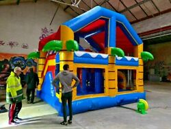 Inflatable Commercial Kids House Slide Bounce Pvc Castle With Blower 16x16x13 Ft