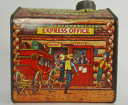 1950s Log Cabin Tin Express Office Advertising Rare Vintage Maple Syrup Can