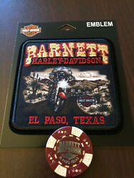 Harley Davidson Sew On Patch El Paso Texas With Poker Chip