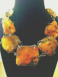☀️baltic Butterscotch Egg Yolk Amber Necklace And Rebecca Collins Earrings