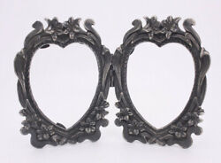 Cast Metal Hinged Pewter Tone Double Heart Antique Style Standing Picture Frame