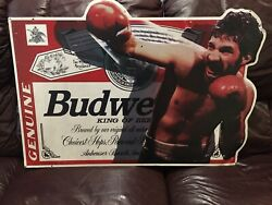 Vintage 1996 Budweiser Beer Metal Sign - Boxer In Action - Union Made In Usa