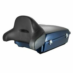 Big Blue Pearl Chopped Tour Pack Pak Wrap Around Backrest Pad Fit 97-2020 Harley