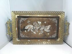 19th C Aesthetic Movement Bronze And Mother Of Pearl Inlay Tray W Hairy Paw Feet