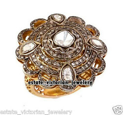 Vintage 3.65cts Clear Genuine Old Rose Antique Cut Diamond Silver Ring Jewelry