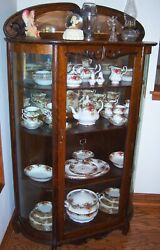 Beautiful Antique China Cabinet Adjustable Shelves Curved Glass W/ Key Lock.
