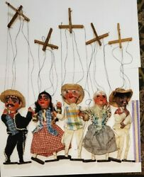 Vintage Mexican Marionette String Puppets Lot Of 5 Spanish Characters