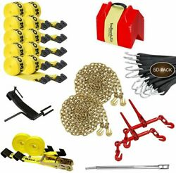 Flatbed Tie-down Kit - 88 Pieces 4 Inch Flatbed Winch Straps 2 Inch Ratchet...
