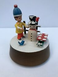 Anri Vtg Music Box Handcarved No Place Like Home For The Holidays Snowman Sled