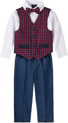 Nautica Baby Boys 4-piece Set With Dress Shirts, Vests, Pants, And Bow Ties,
