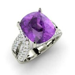 Certified 5.00 Ct Natural Gemstone Amethyst Ring 14k Solid White Gold Size 5.5 6