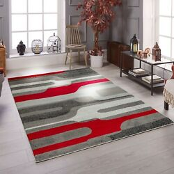 Area Rug Oxfrd10 Modern Gray Red Soft Pile Size 2x3 3x5 5x7 8x11