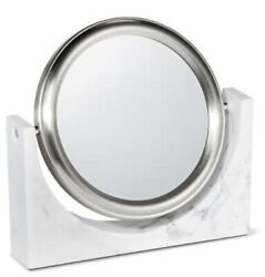 Faux Marble Resin Makeup Mirror White Brushed Nickel 3x Zoom 88 Main New