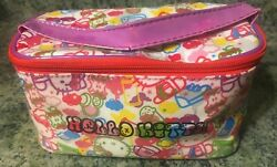 Hello Kitty Cosmetic Vinyl Hand Bag Make Up Case with Hand Strap Cloth Lining $10.99